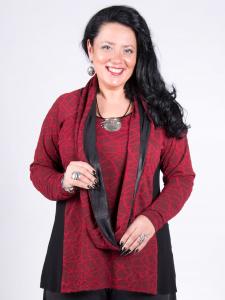Shirt Raglay rubinrot-schwarz XXL