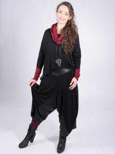 Rollschal Netzoptik rubinrot-schwarz