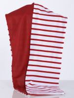 Rollschal Streifen rot-weiss