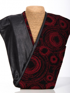 Rollschal Jacquard Kreise schwarz-rot