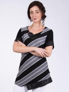 Longshirt Cecilia schwarz-weiss Streifen XL