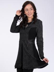 Mantel Elaria Jacquard grau-schwarz 3XL