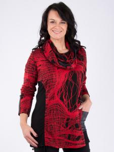 Pullover Telvin m. Schal rot-schwarz L