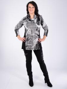 Pullover Telvin m. Schal schwarz-weiss XL