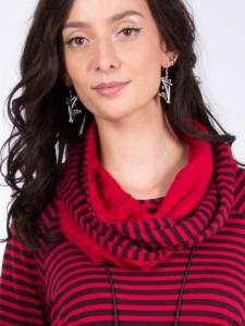 Rollschal Jacquard rot-tinto Streifen