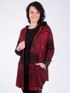 Jacke Lori Jacquard rot-schwarz S