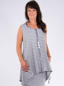 Tunika Elda Streifen grau-weiss XL
