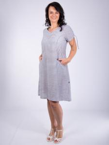 Kleid Mynea Streifen grau-weiss M