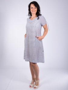 Kleid Mynea Streifen grau-weiss 2XL