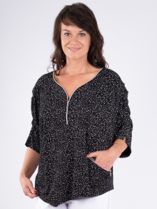 Shirt Lovela schwarz-weiss Punkte 3XL