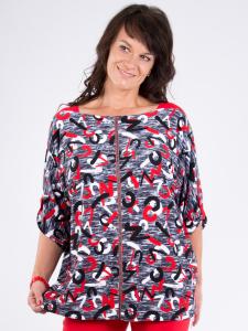 Shirt Gladias Print grau-weiss-rot L