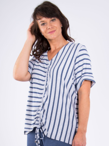 Shirt Maura jeans-hellblau meliert Streifen 3XL