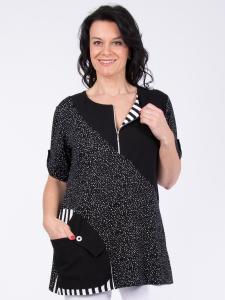 Shirt Jonna schwarz-weiss Punkte-Streifen mix XL