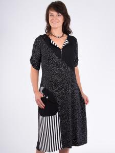 Kleid Isalia schwarz-weiss Punkte-Streifen mix 2XL