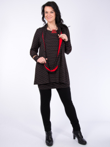 Rollschal schwarz-grau-rot