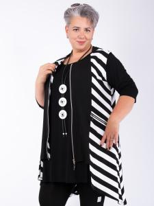 Weste Jill mit Kapuze Streifen schwarz-weiß M