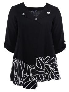Tunika Selena schwarz Design Blätter 2XL