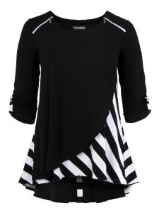 Shirt Justina schwarz-weiss Streifen 2XL