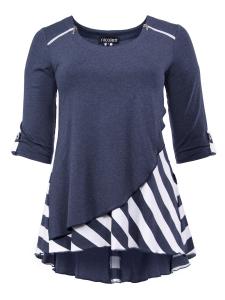 Shirt Justina jeans-weiss Streifen L