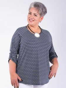 Shirt Mathea 21 Streifen jeans-weiss/Punkte grün 2XL