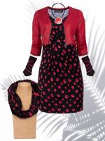 Stulpen schwarz-fuchsia-rot